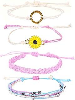4 قطع سوار عباد الشمس بوهو مصنوع يدويا سلسلة سوار مجموعة قابل للتعديل مزين أساور الشاطئ ماء مجوهرات للنساء الفتيات المراهقات