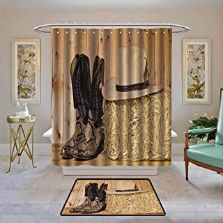 Bathroom Curtain Western Decor,Snake Skin Cowboy Boots Timber Planks in Barn with Hay Old West Austin Texas,Cream Brown,Bathroom Shower Curtain Water Repellent and Mild Resistant 48