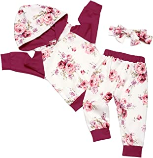 Xuuly Newborn Infant Baby Girls Clothes Floral Long Sleeve Hoodie Sweatshirt with Headbands 3Pcs Outfit Set