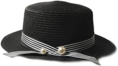 Warm Newly Lady Boater Sun caps Ribbon Round Flat Top Straw Beach Hat Panama Hat Summer Hats for Women Straw Hat Snapback