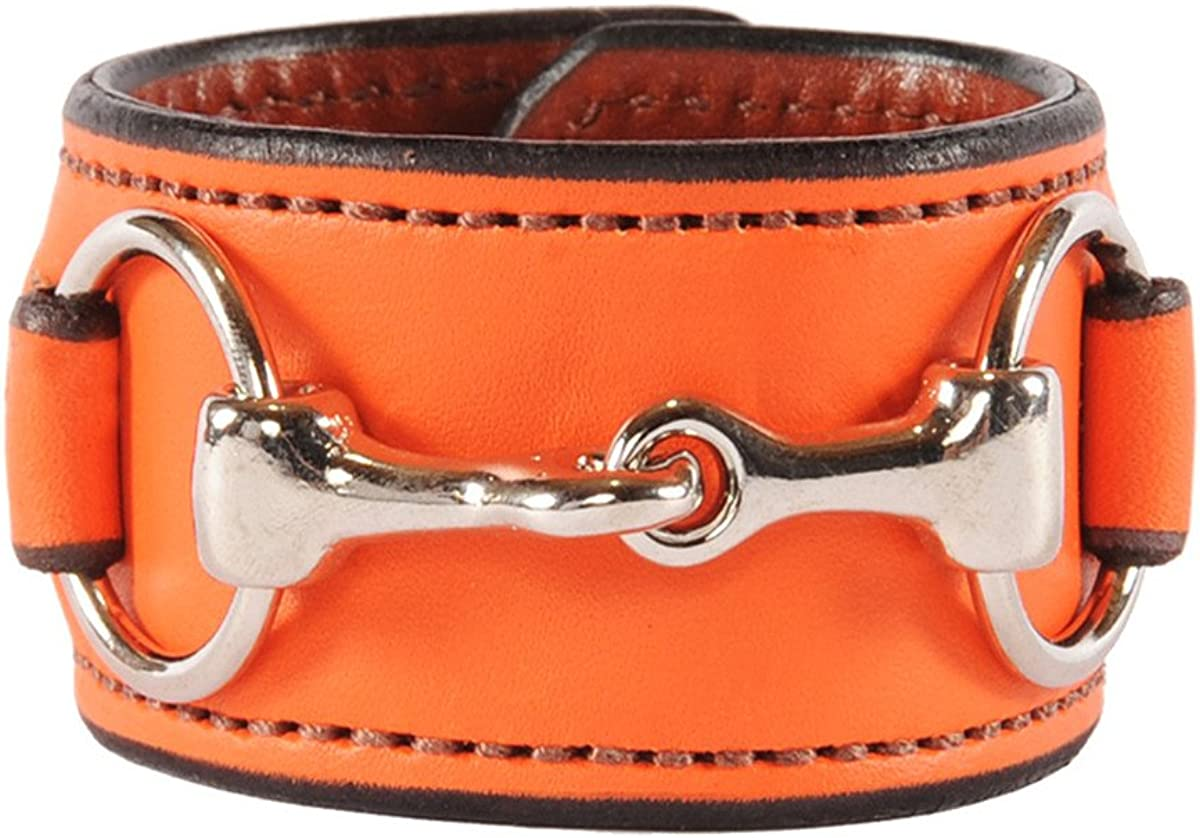 Equestrian Stainless Steel Horse Snaffle Bit Leather Cuff Bracelet