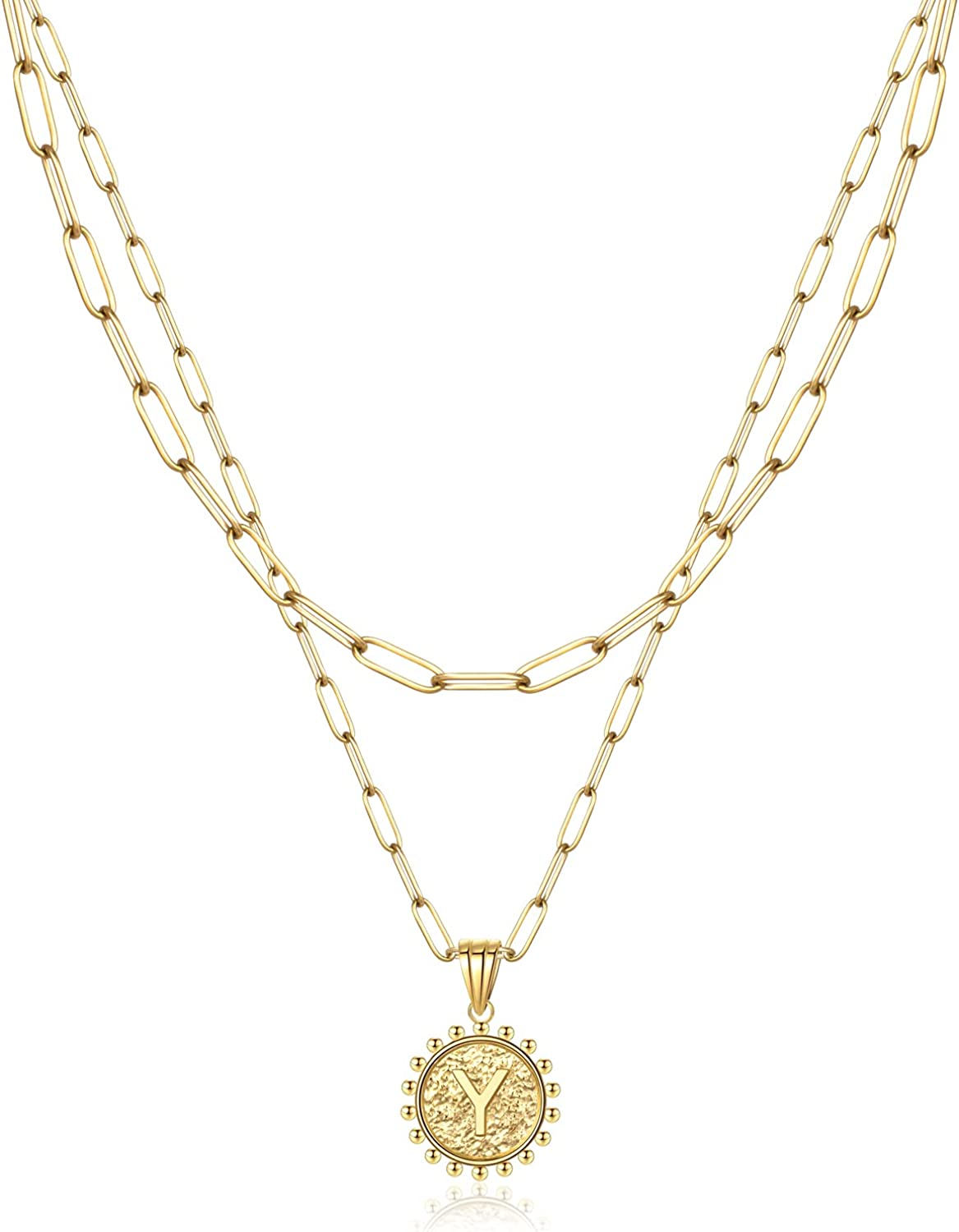ZMZY Gold Layered Necklaces For Women 14k Gold Plated Paperclip Chain Necklace Dainty Cute Hexagon Letter Pendant Choker