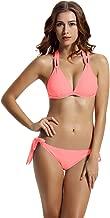zeraca Women's Tie Side Bottom Criss Cross Triangle Bikini Bathing Suits