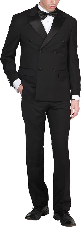 Adam Baker Men's Formal Regular Fit 2-Piece Double Breasted Peak Lapel 100% Wool Tuxedo