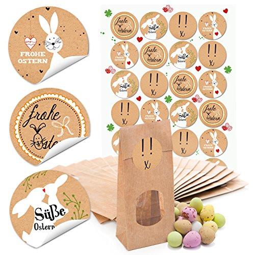 10 kleine braune Papiertüten Ostertüten Frohe Ostern Sticker Verpackungest MIT FENSTER und Pergamin-Einlage 7 x 4 x 20,5 cm + 24 runde Aufkleber 4 cm Kraftpapier Frohe Ostern Sticker Verpackung