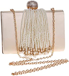 Dinner Dinner Rhinestone Fringed Pearl Bag Europe And America Banquet Round Pearl Clutch Bag Evening Dress Small Square Bag Metal Bag Female Bag 11.5 * 17.5 * 5cm Grace (Color : Apricot)