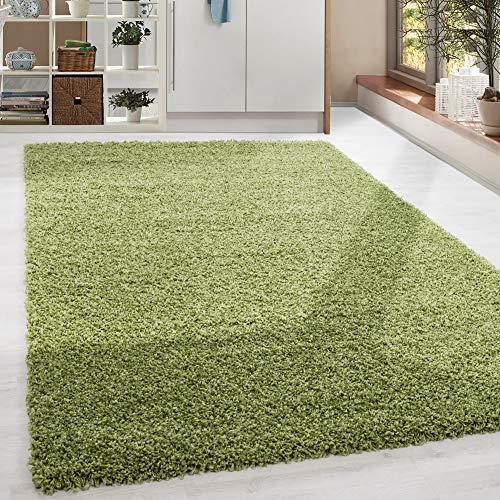 HomebyHome - Tappeto a pelo lungo Shaggy, colore: verde Taglie, 100% polipropilene, verde, 200 x 290 cm