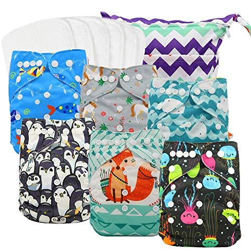 ohbabyka Wiederverwendbare Unisex Baby Tuch Pocket Windeln All in One mit 1?weichen Tuch inneren (0-6pcs-1)