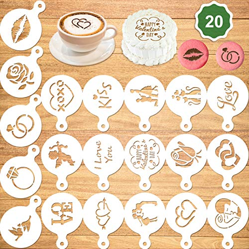 Konsait 20Pack Valentine's Day Cake Stencil Templates Decoration, Reusable Valentine's Day Cake Cookies Baking Painting Mold Tools, Dessert, Coffee Decorating Molds Cappuccino Mousse Hot Chocolate
