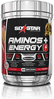 Six Star Aminos Plus Energy, BCAA Powder, Fruit Punch, 30 Servings, 207 grams
