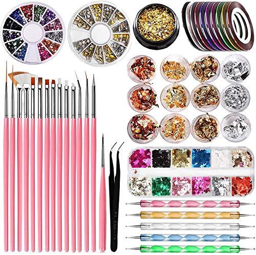 Kit de Accesorios Decoración Uñas Nail Art, Herramienta de Punteado Color Lámina...