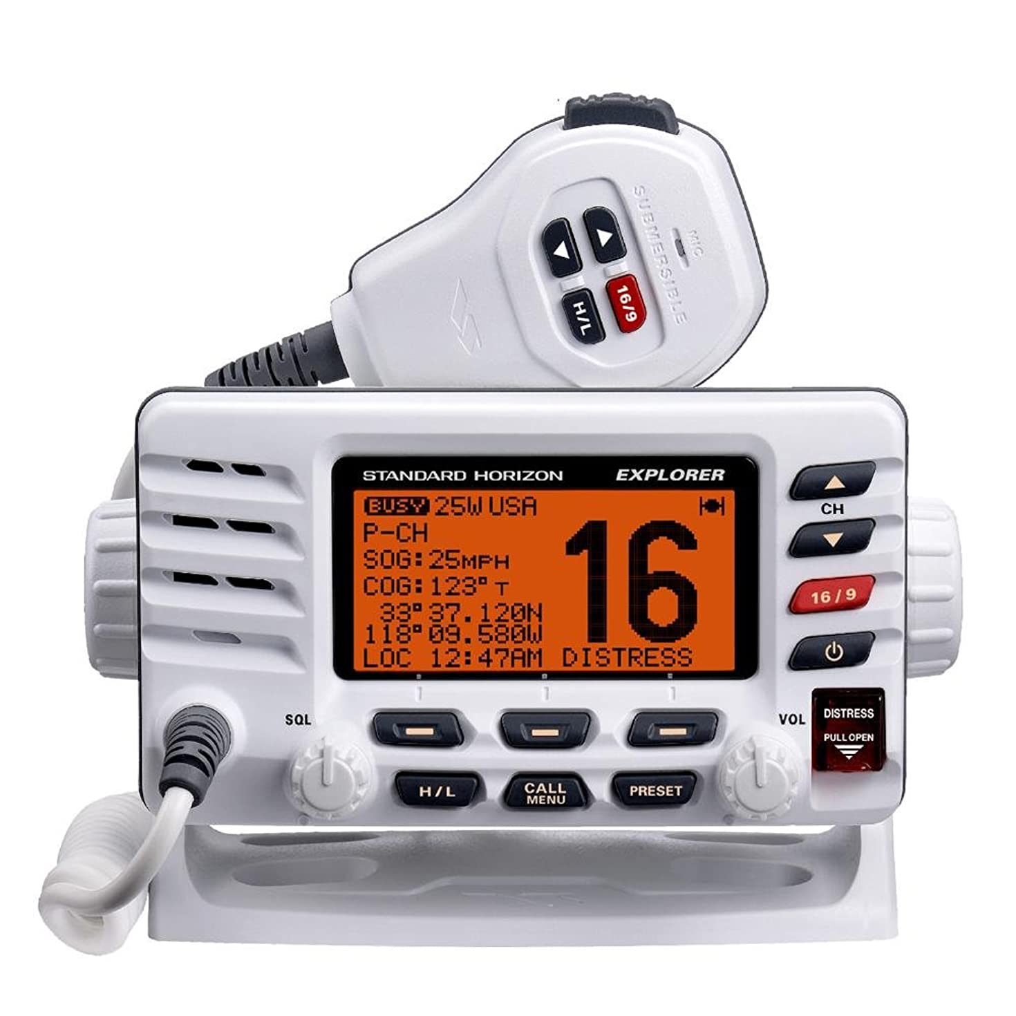 Standard Horizon Explorer GX1600 Fixed Mount VHF Radio Ultra Thin Class D- White