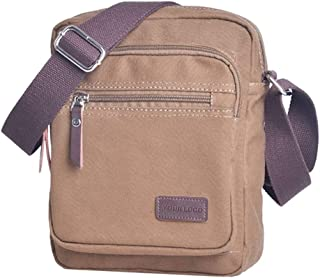 Mens Casual Blank Canvas Crossbody Messenger Sling Shoulder Bag Multi-Functional Casual Fashion Travel (Color : Brown, Size : S)