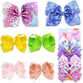 gdy 12 Pcs JOJO Siwa Hair Bow Hand-made Grosgrain Ribbon Alligator Clip Hair Accessories for Little Girl Gift - 3 Size - 5