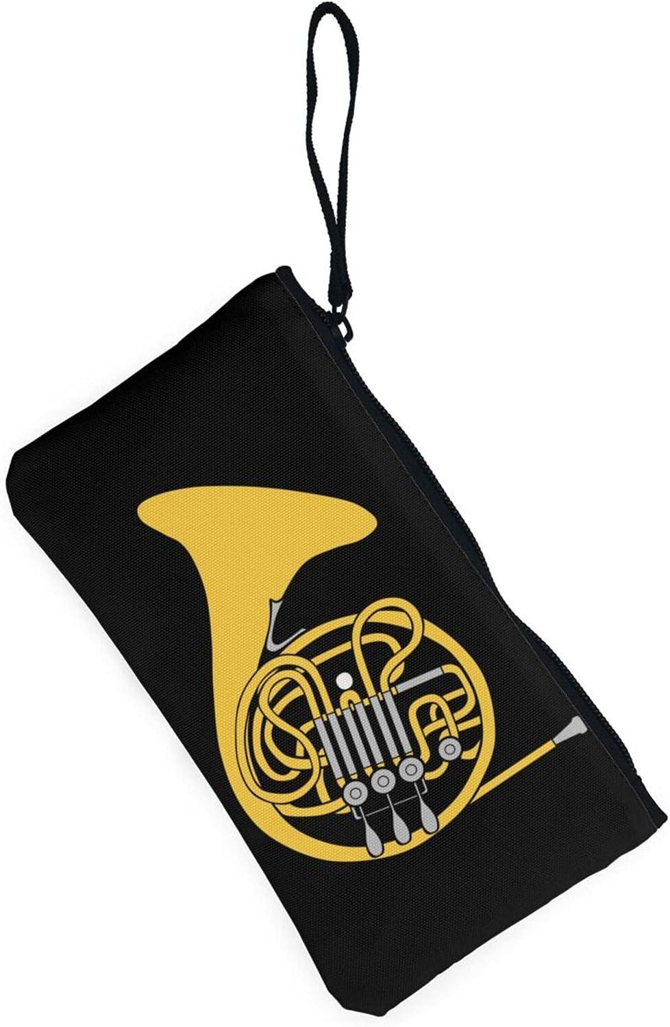 AORRUAM Trombone Canvas Coin Purse,Canvas Zipper Pencil Cases,Canvas Change Purse Pouch Mini Wallet Coin Bag