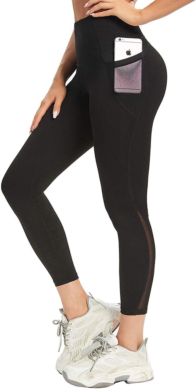 Oakland Mall AINIC High Waist Fashionable Yoga Pants with Workout L Control Pockets Tummy