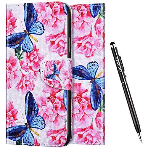 Uposao Funda para Huawei P40 Lite E,Carcasa Huawei P40 Lite E Dibujo Animados Funda de Cuero con Tapa Cierre Magnético y Ranuras para Tarjetas y Función de Soporte Libro Flip Funda,Mariposa Azul