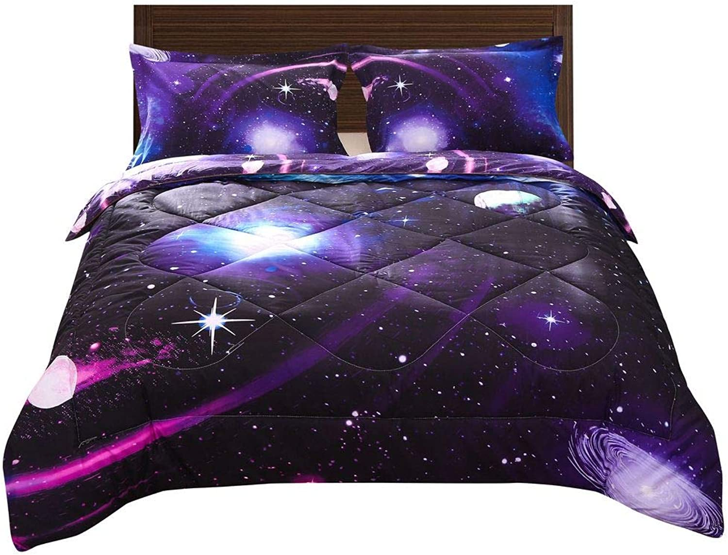 Babycare Pro 3D Galaxy Comforter Sets Full Size for Teen Kids, Cheap Comforter Bedding Sets 3 Piece, 1 Comforter, 2 Pillowcases (Full, Galaxy Purple Comforter Sets)