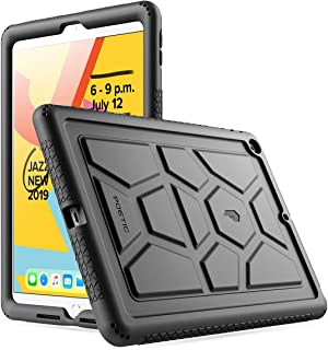 iPad 10.2 2019 Tablet Case, Poetic Heavy Duty Shockproof Kids Friendly Silicone Case Cover, TurtleSkin Series, for Apple iPad 10.2 inch (7th Generation, 2019 Release), Black