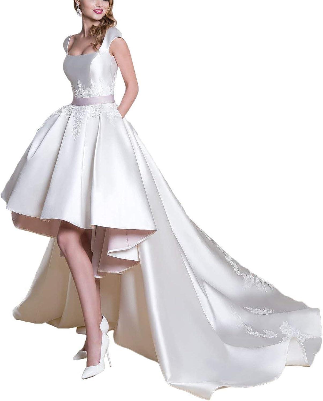 Dreagel Women's Aline Satin Wedding Dresses High Low Bridal Gowns Detachable Train