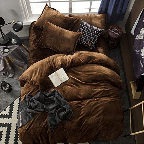 BB.er Flannel ensemble de literie automne et hiver d'épaisseur chaude loi velours couleur unie textile de maison literie collection, brun foncé, 180x200cm