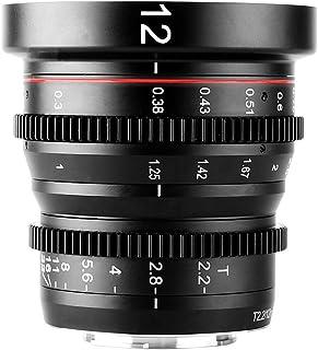Meike 12mm T2.2 Manual Focus Wide Angle Fixed Prime Cinema Lens for M43 Micro Four Thirds MFT Mount Cameras and Cinema Cam...