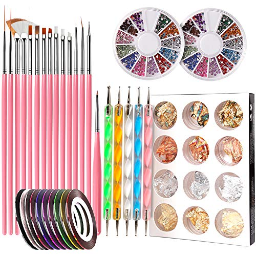 Nail Pen Designer, Teenitor Stamp Nail Art Tool with 15pcs Nail Painting Brushes, Nail Dotting Tool,...