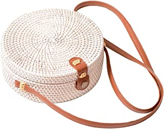 Bali Rattan Bag, Vintage Straw Purse Handwoven Round Straw Crossbody Bag with Bow/Interlocking Clasp