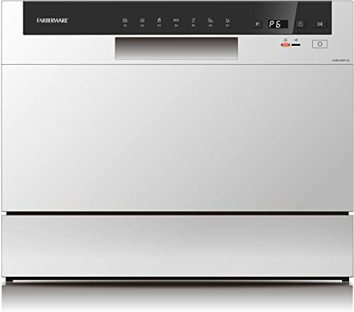 Farberware Professional FCD06ABBWHA Compact Portable Countertop Dishwasher with 6 Place Settings and Silverware Baske...