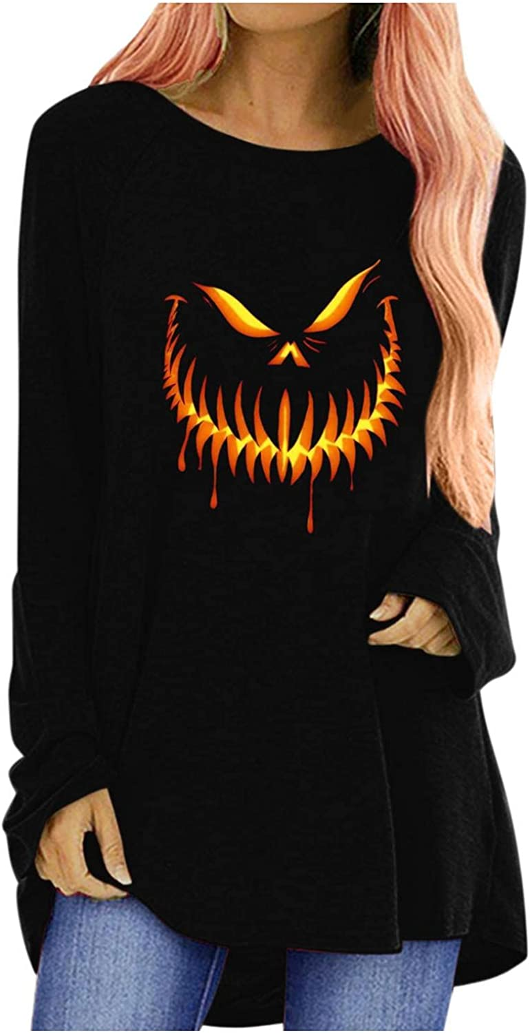 Long Sleeve Shirt Store for Women Casual gift face Print Loose Fit Pumpkin