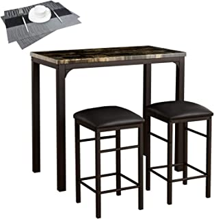 VECELO Faux Marble Dining 3-Pieces High/Pub Table Set with 2 Bar Stools-2 Placemats Included, Black