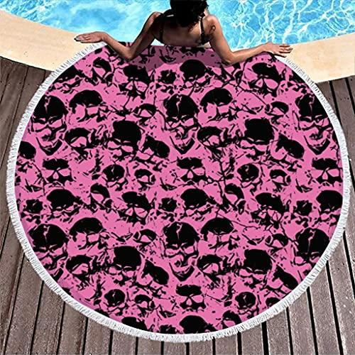 Ktewqmp Toalla de playa redonda con diseño de calavera, color rosa, 150 cm