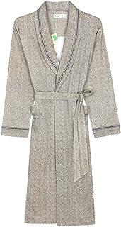 YONGYONG メンズ100%コットン春と秋の新しい薄い長袖パジャマホームサービス中期メンズのバスローブ