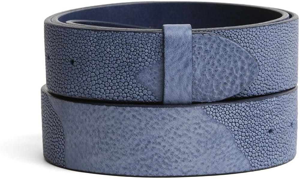 VaModa Belt, Cinturón en piel, modelo Lima, color blu, sin hebilla