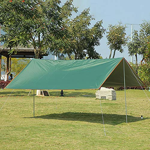 QLJJ Camping Tent Tarp Shelter Tent Tarp Waterproof - Rain Fly Tent Tarp Light Ripstop Fabric-Anti-UV For Camping Travel Outdoor Hammocks for Camping Outdoor (Color : Green, Size : 300x400cm)