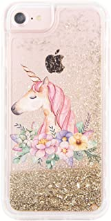 "uCOLOR iPhone 6S Plus 6 Plus Case iPhone 7 Plus 8 Plus Case Gold Glitter Floral Unicorn Waterfall Clear Protective Case for iPhone 6S Plus/ 6 Plus (5.5"")"