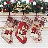 N/N - Juego de 3 calcetín de Navidad, diseño clásico de Papá Noel, muñeco de nieve, reno, Navidad, bolsa de regalo para decoración del árbol de Navidad, bolsa de regalo