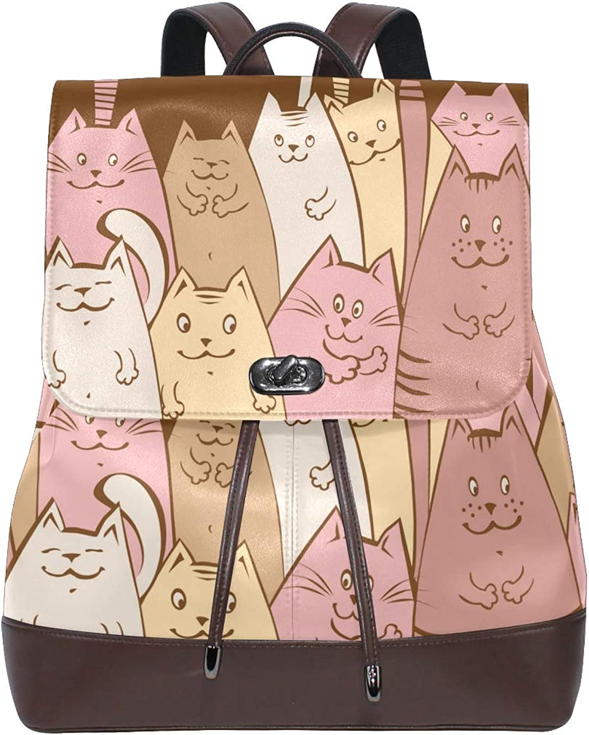 DEZIRO Leather Cartoon Cats and Fish Bone School Pack Backpacks Travel Bag