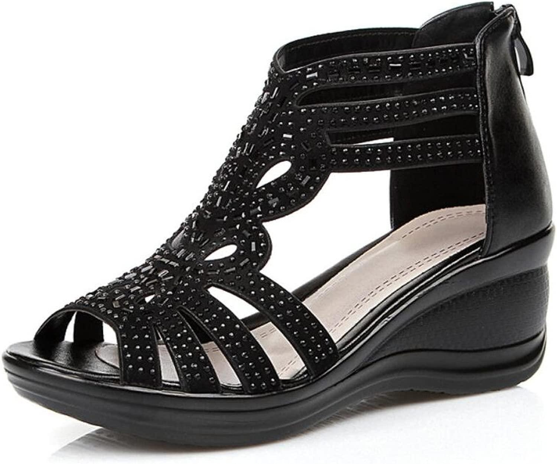 DANDANJIE Frauen Sandale Leder Keilabsatz Breathable Sandalen Schuhe für Damen Damen Mama Dame mittleren Alters (Farbe   Schwarz, Größe   37)  billiger Großhandel