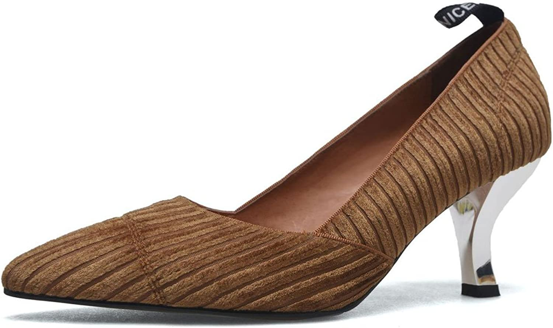 FLYSXP Damen Damen Leder zeigte High Heels Pump Damen Vier Jahreszeiten Samt Büroarbeitsschuhe Gericht Schuhe 34-39 Yards Damenschuhe (Farbe   Light braun, Größe   34)  Wir nehmen Kunden als unseren Gott