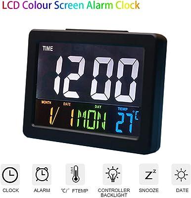 Reloj despertador para niños, pantalla LCD digital de 5,3 pulgadas, alarma,