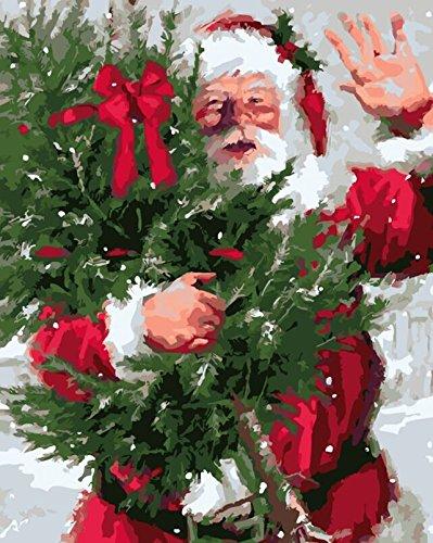 YEESAM ART Nouvelles Peinture au Numero pour Adulte Enfants - père Noël Christmas Tree Arbre de Noël Santa Claus 40x50 cm - DIY Painting by Numbers numéro Cadeaux de noël