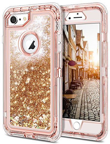 JAKPAK iPhone 6 Case, iPhone 6S Case Shockproof Glitter Flowing Liquid Bling Sparkle Cover for Girl Woman Heavy Duty Full Body Protective Shell for iPhone 6S iPhone 6 4.7 inches Rose Gold
