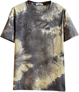 Men's Fashion O-Neck Short Sleeve T-Shirt SFE Summer Tie-Dyed Printing Casual Tops Blouses Cotton Blend Tunic Tees