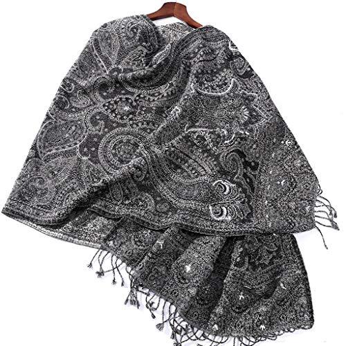 Xu Yuan Jia-Shop Moda Bufanda Chal De Gama Alta a Mano con Cuentas de la Bufanda del mantón Bordado Gris Suave Bufanda Caliente de Lana de Mujeres Material Bufanda acogedora