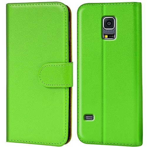 Verco Galaxy S5 Mini Hülle, Handyhülle für Samsung Galaxy S5 Mini Tasche PU Leder Flip Case Brieftasche - Grün