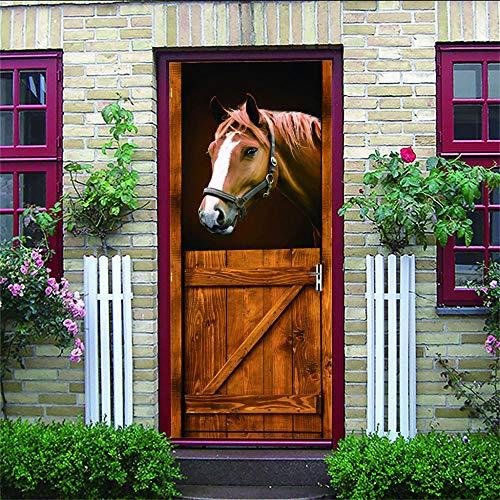 3D Tür Aufkleber Pferd Pvc Wasserdicht Selbstklebend Türaufkleber Wohnzimmer Schlafzimmer Tapete Kunst Aufkleber 88 * 200Cm
