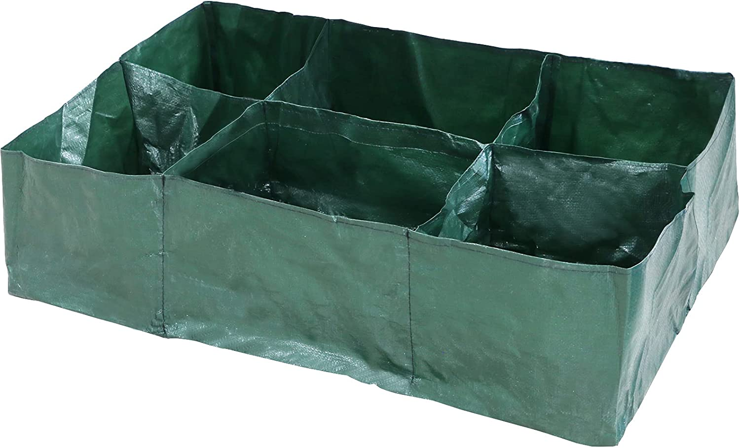 CZWESTC Large Square PE Fabric Raised Planting Bed with 6 Compartments, Garden Grow Box Bag Pots for Tomato, Potato, Vegetables, Plants, Flower Growing