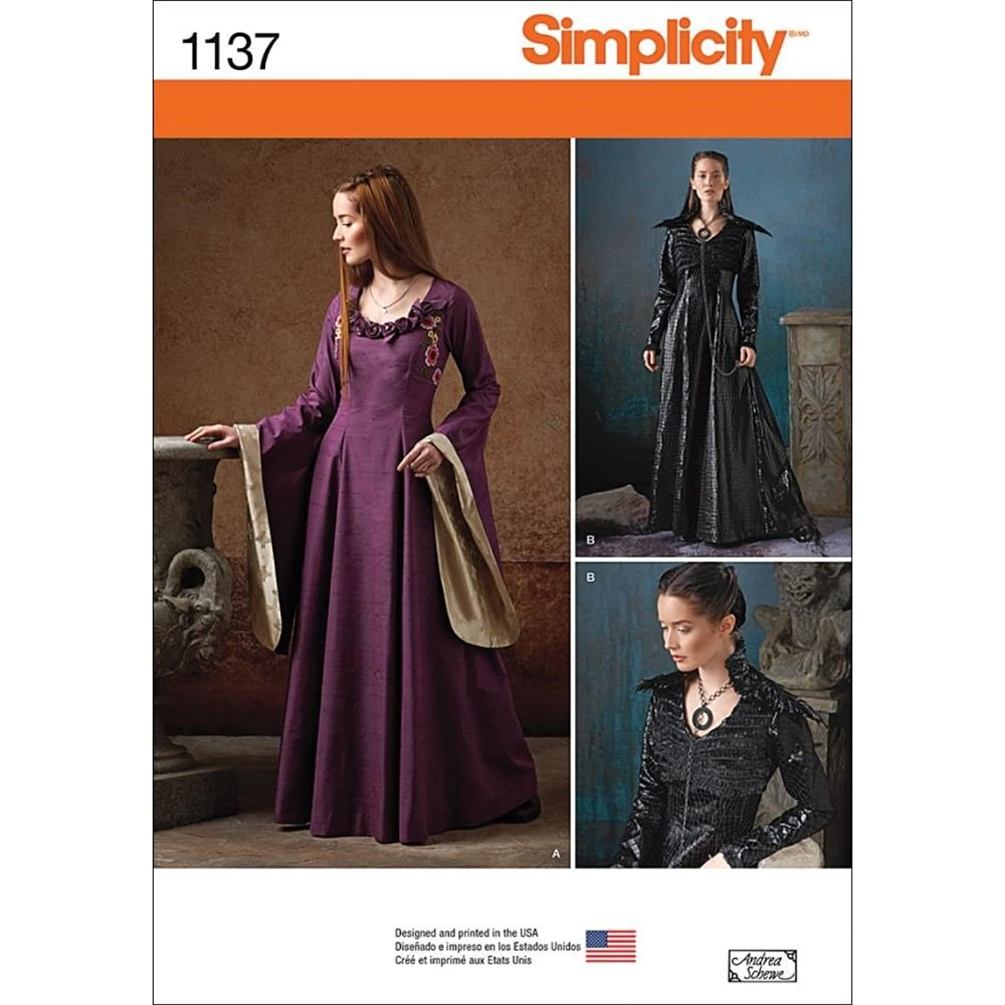 Simplicity Patterns 1137 Misses' Medieval Fantasy Costumes, H5 (6-8-10-12-14)