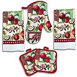 American Mills Juicy Apple Decor 5 Piece Printed Kitchen Linen Set Includes Towels Pot Holders Oven Mitt